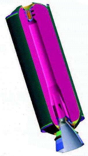 P80-rakettimoottorin halkileikkaus